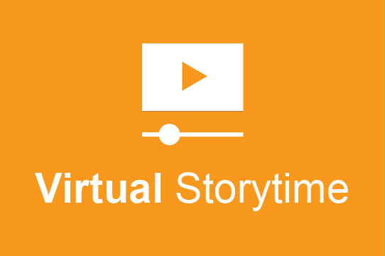 Image of play arrow used for videos with text Virtual Storytime